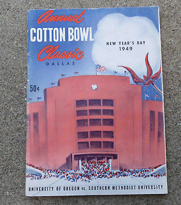 Original Jan 1949 13th Annual Cotton Bowl Classic Football Program Ore vs SMU