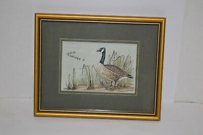 Vintage Canada Goose geese woven picture art Jacquard Loom England