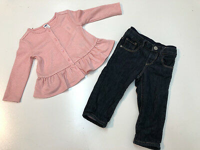e03ab04e7f60 BABY GIRL WINTER Outfit Old Navy Pink Top   Gap Lined Denim Pants 12 ...