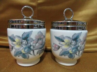 Pair Royal Worcester Egg Coddlers with Lids Porcelain England Blue Flowers