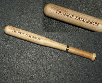 "(1) Wood Baseball Bat Pen 5-1/4"" long, 1 Free Personalized Laser Engraved Lines"