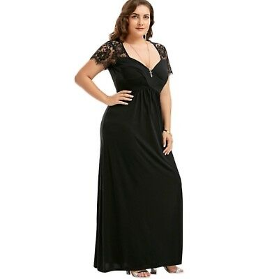 a91eead15a1 BLACK EVENING PLUS Size Empire Waist Lace Panel Maxi Dress - Sizes 14 to 22