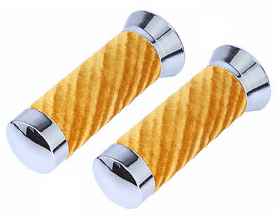 Original Lowrider Velour Swirl Grips With Chrome End Cap Lowrider Bicycle GOLD