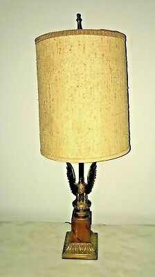 50s Vintage Federal eagle table brass & wood lamp Early American colonial style