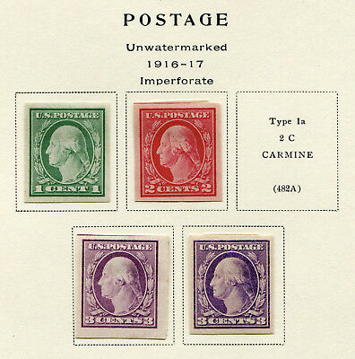 1916-1917 USA.  Flat plate printings, imperforate.  Part set of 4 MLH.  CV £26.