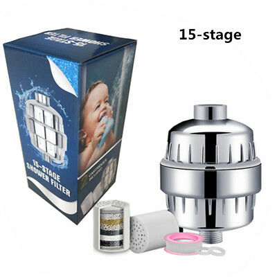 15-Stage Shower Water Filter Purifier with 2 Replaceable Cartridges