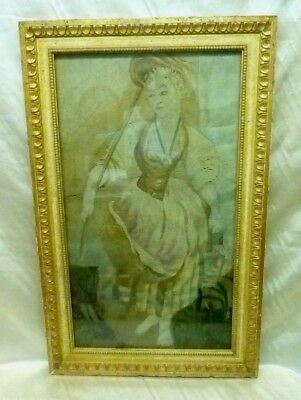 Estate Found French 18th Century Woman Needle Point Tapestry (Framed)
