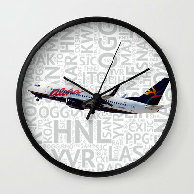 Aloha Airlines Boeing 737 with Airport Codes - Wall Clock