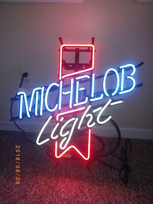 MICHELOB LIGHT Beer BAR SIGN Neon Hanging Wall PUB CAVE MAN Mancave Dad Gift