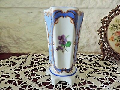 Limogues A LA MAIN Porcelain Blossom Vase 6 Sides Footed Floral Very Pretty ExC