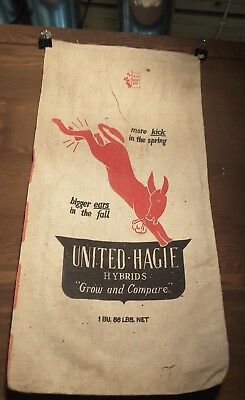 Vintage United Hagie Hybrid Seed Corn Sack Cloth Bag Des Moines Iowa