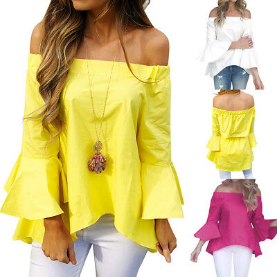 ca7a03bb1f82b Sexy Women Off Shoulder Shirt Flare Sleeve Tunic Solid Loose Tops Blouse T- Shirt