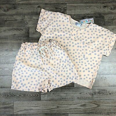 Vintage Women's Two Piece Pink and Gray Large A'Milano Set Crop Top Shorts