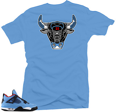 new style 3b6b7 fbbc3 Shirt to Match Jordan 4 Cactus Jack Sneakers. Bull 4 Blue Tee