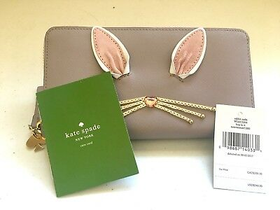 NWT Kate Spade Lacey Rabbit Grey Leather Wallet Clutch Hop To It Bunny WLRU3200