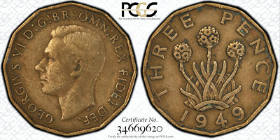 1949 Great Britain 3D Threepence PCGS VF25 - RARE DATE - GOLD SHIELD SLAB