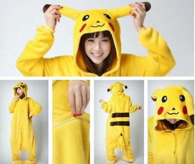 Hot Adult/Kids Pajamas Kigurumi Cosplay Animal Hoodie Sleepwear Pikachu Unisex