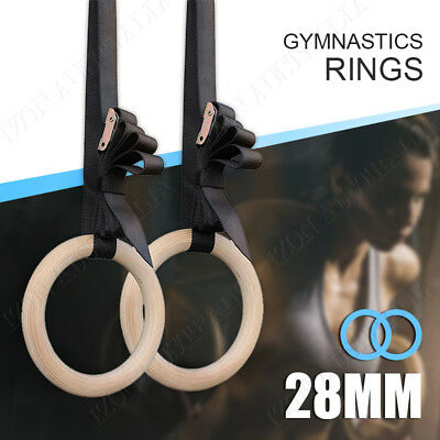 Wooden Gymnastic Rings Crossfit Gym Olympic Competition Bodyweight Trainer