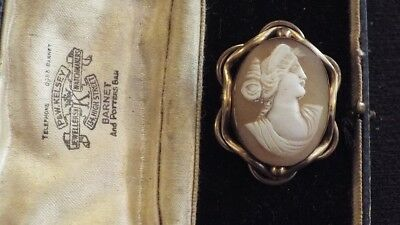 Antique Victorian Gold Tone Carved Shell Boxed Cameo Brooch