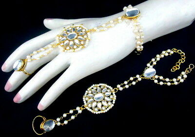 White Kundan Cz Pearl Gold Tone Indian Bollywood Adjustable Finger Ring Jewelry