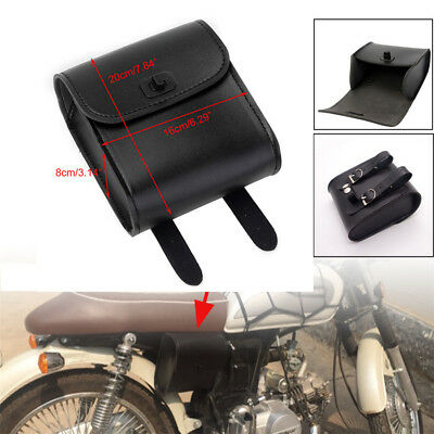 NEW Black PU Leather Motorcycle Front Handlebar Bag Luggage Saddle Bags Storage