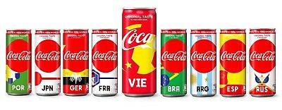 Coca Cola Vietnam for World Cup Russia 2018 , 1 complete set 9 cans sleek 330ml