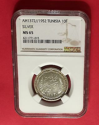 Tunisia -Ah1372//1952 Silver ,10 Francs  Ngc Ms65  Extra Rare!  Low Mintage