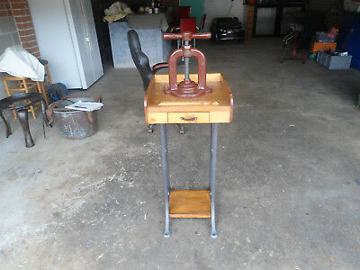 Antique Iron Book Press With Cast Iron And Timber Stand With Drawer/ Australia