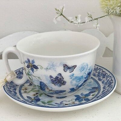 Shabby Vintage Chic Butterfly Fine China Porcelain Tea Cup & Saucer Wedding Gift