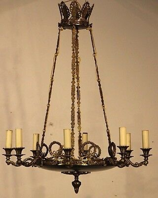 Large antique French Empire style brass hanging dish chandelier 8 ormolu arms