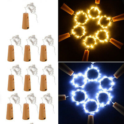 2018 US Warm Wine Bottle Cork Shape Lights 20 LED Night Fairy String Light Lamp