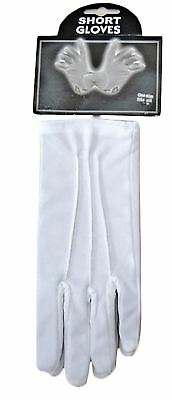 Ladies Short Wrist White Satin Gloves Womens Fancy Dress Party Accessory Outfit