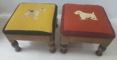 2 ANTIQUE 100yr HANDMADE WOODEN CARVEDLEGS FOOTSTOOLS DOGLOVERS TAPESTRY $50each
