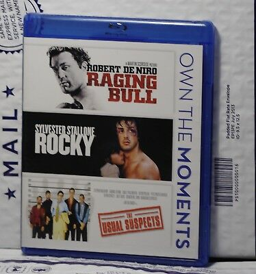Very Good Raging Bull+Rocky+Usual Suspects Blu-Ray! 3 Disc Set! Discs Like New