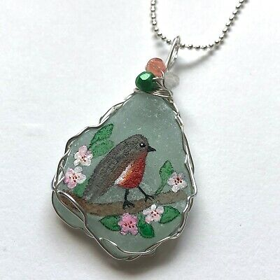 """Robin and blossom sea glass necklace, hand painted to order 18"""" silver chain"""