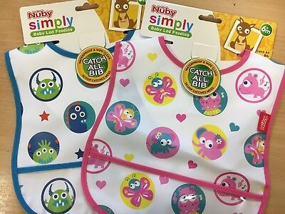 Nuby Catch All Feeding Baby/Toddler Bib Waterproof & Wipe Clean