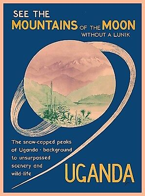 Mountains of the Moon Uganda Africa African Vintage Travel Advertisement Poster