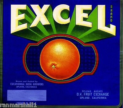 Upland San Bernardino Excel Orange Citrus Fruit Crate Label Art Print