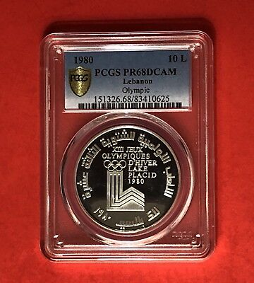 Lebanon-10 Livres Silver Proof Coin,winter Olympic 1980,graded By Pcgs Pf 68Dcam