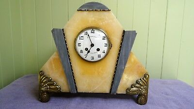 Fabulous French Art Deco Marble Eight Day Bell Striking Mantel Clock