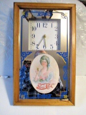 Vintage Pepsi Cola Mirror Clock Battery Operated Wood Framed
