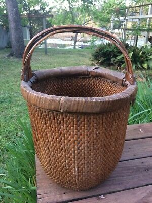 Vintage Early 1900's  Signed Chinese Elm Handle Woven Willow Rice Basket Nice