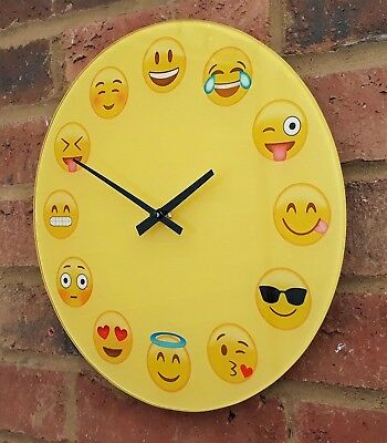 Emoji Wall Clock Glass 30cm Funny Face Yellow Smile Heart Tongue Wink Shades New