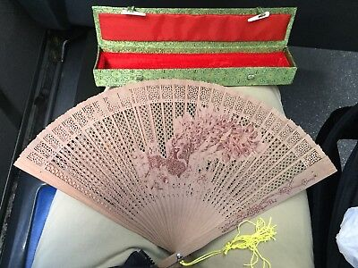 """vintage Chinese 9"""" hand Fan, made of Pierced wood with original box"""