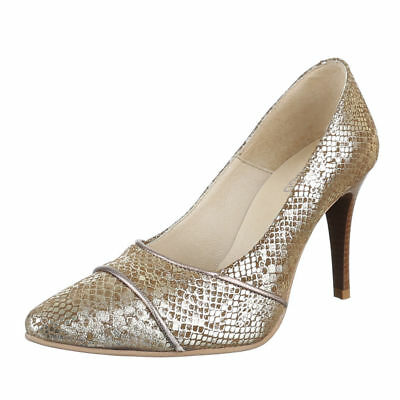 Damenschuhe Pumps WOW Leder Auen High V2177 Heels Gold 39