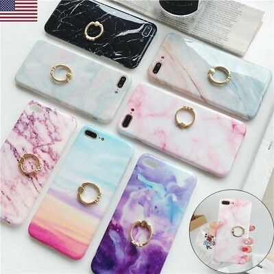 Marble Ring Holder Stand Phone Case For iPhone X 7 6s 8 Plus Granite Stone Cover