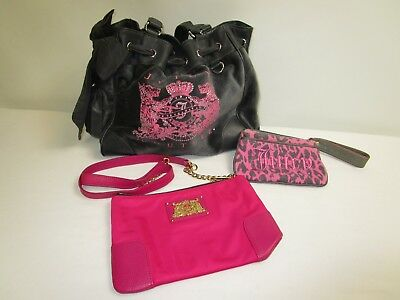Juicy Couture Mixed Lot of 3/Grey & Pink Colors/ Purse/ Wristlet/ Smaller Bag