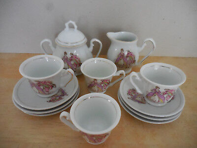 Courting Couple Porcelain Child's Tea Set - 13 Pcs - Fine China - Made In China