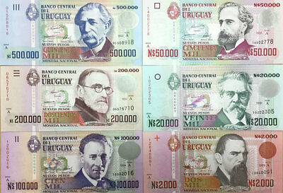 Uruguay Banknote P68-73 Complete set of Pesos, 6 notes issued 1989-1992, UNC
