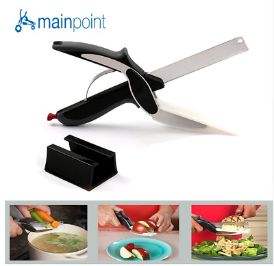 Mainpoint 2 in 1 Utility Cutter Scissors Knife&Board Smart Chef Stainless Steel